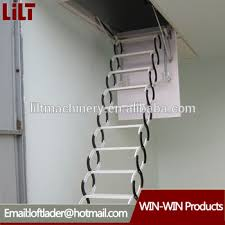 indoor duplex staircase folding attic ladders with handrail steel