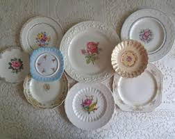 Shabby Chic Plates by Set Of 8 Mismatched China Floral Plates Wall Collage Cottage