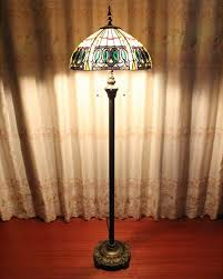 tiffany style home floor lamp with stained glass shade parrotuncle