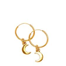 gold plated earrings gold plated dangling moon hoop earrings s