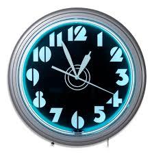 art deco stencil numbers neon wall clock vintage garage clocks