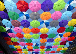 yellow blue red pink purple green multicolored open umbrellas