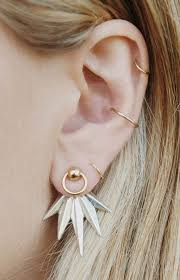 earrings on top of ear sun spikes gold ear jacket ear piercing jewelry ideas