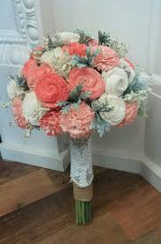 wedding flowers queanbeyan coral sola wood flower bouquet accented with dusty miller