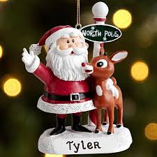 santa and rudolph the nosed reindeer ornament with letter