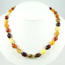 colored beaded necklace images Polish art center 18 quot multi color oval amber beaded necklace jpg