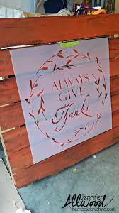 thanksgiving horn called fall pallet with an always give thanks stencil