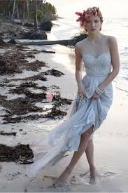 popular beach wedding dress made of chiffon and beaded lace