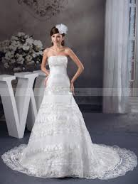 satin strapless princess wedding dress with tiered lace overlay