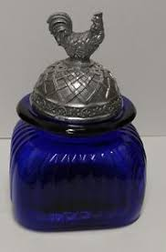 cobalt blue kitchen canisters cobalt blue kitchen canister cookie jar with large pewter rooster