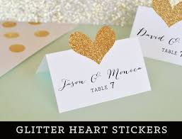 diy wedding place cards heart place card diy stickers wedding place card stickers gold