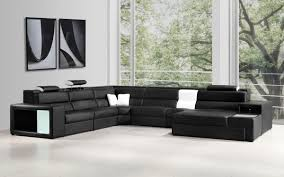 Cheap Black Leather Sectional Sofas Italian Leather Sectional Sofa In Black