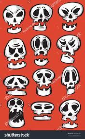 vector illustration emoticon cartoon skulls easyedit stock vector
