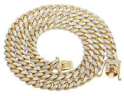 solid yellow gold necklace images Solid yellow gold diamond miami cuban link necklace 8 4 ct 26 quot jpg