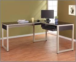 Black Computer Desk Black Glass Top Computer Desk With Regard To Black Glass L Desk