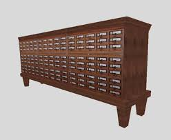 Library Catalog Cabinet Second Life Marketplace Antique Library Card Catalogue Cabinet