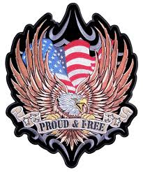 Flag Badges Embroidered Large American Flag Eagle Proud And Free Embroidered Biker Patch