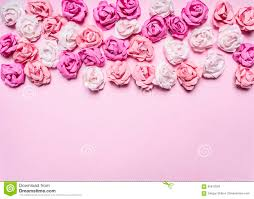 pink background with colorful paper roses decorations s