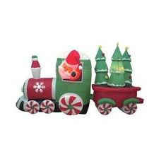 Christmas Ornament Storage On Wheels amazon com 8 foot long inflatable santa claus driving train on