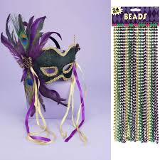 mardi gras mask and mardi gras mask and bead bundle buycostumes