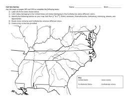 Civil War States Map Civil War Map Worksheet Free Worksheets Library Download And