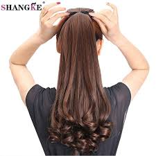 ponytail with extensions shangke hair 22 curly synthetic ponytail light brown