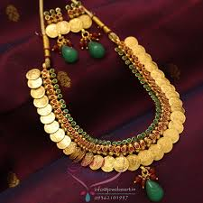 colour gold necklace images Nl0745 temple coin necklace red green colour antique plating jpg