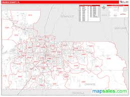 Kissimmee Florida Zip Code Map Orange County Fl Zip Code Wall Map Red Line Style By Marketmaps