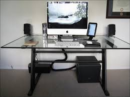 corner computer desk glass stunning black computer desk