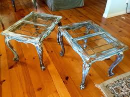 shabby chic end tables set of two glass top matching antique