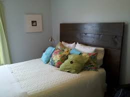 old brown color for simple headboards installed on double bed plus
