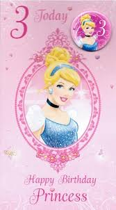 disney princess birthday card with badge age 3 co uk