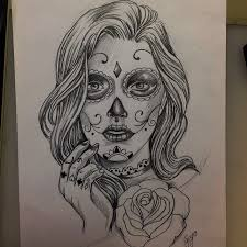 awesome catrina with rose flower tattoo sketch