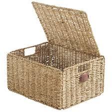 vonhaus 4 piece seagrass storage basket walmart com
