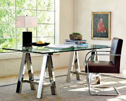 Sawhorse Trestle Desk Mason Glass Top Desk Polished Nickel Williams Sonoma