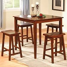 Amazoncom Pc Counter Height Dining Table And Stools Pub Set - Dining table for bar stools