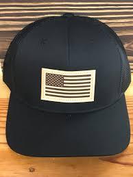 Black Flag Hat Captuer Usa Flag Leather Patch Trucker Hat Black Black Ag