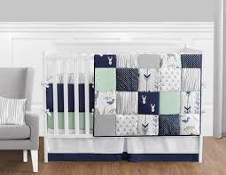Baby Deer Crib Bedding Navy Blue Mint And Grey Woodsy Deer Baby Bedding 9pc Boys Crib