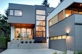 hardy siding exterior contemporary with cable railing concrete