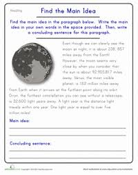 find the main idea the moon comprehension worksheets main idea