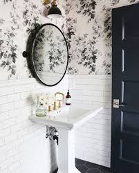 wallpaper bathroom designs black and white floral wallpaper and a pedestal sink shop