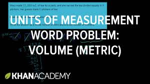 units of measurement word problem volume metric 5th grade