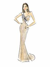 what are some great sketches of dresses wore by miss universe 2015