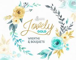 gold flowers lovely flowers gold wreaths and bouquets watercolor clipart