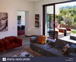 view through terrace doors from living room interior of shimmon stock photo view through terrace doors from living room interior of shimmon house los altos hills california usa