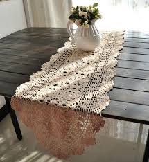 shabby chic table runner 40x180cm 15x71 inches vintage hand crocheted shabby chic table
