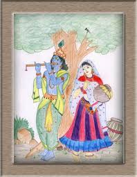 art on sketchbook by megha chhatbar color pencil drawing radhe