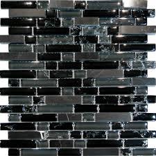 black glass tiles for kitchen backsplashes sle black marble crackle glass linear mosaic tile kitchen