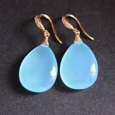 blue drop earrings buy blue chalcedony earrings chalcedony drop earrings blue