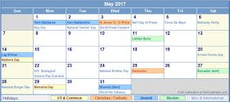 may 2017 calendar with holidays monthly calendar printable